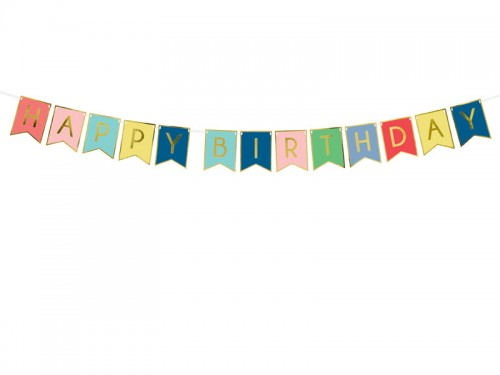 BANER GIRLANDA PARTYDECO HAPPY BIRTHDAY 15*175CM MIX KOLORÓW