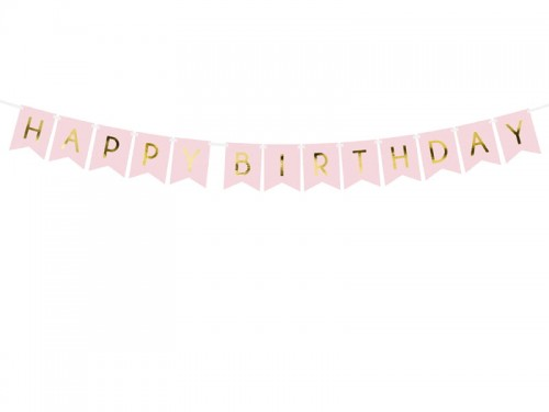 BANER GIRLANDA PARTYDECO HAPPY BIRTHDAY 15*175CM J. RÓŻ