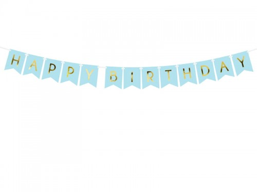 BANER GIRLANDA PARTYDECO HAPPY BIRTHDAY 15*175CM J. NIEBIESKI