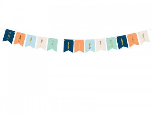 BANER GIRLANDA HAPPY BIRTHDAY MIX 11,5 X 140 CM PARTYDECO